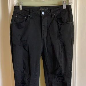 American Bazi super distressed black jegging